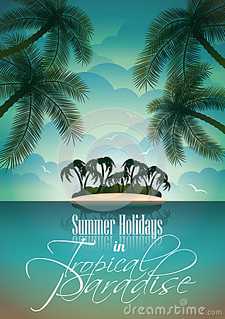 Free Vector Summer Holiday Flyer Design With Palm Trees. Royalty Free Stock Images - 30379649