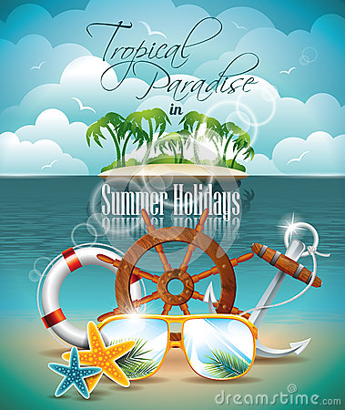 Free Vector Summer Holiday Flyer Design With Palm Trees Royalty Free Stock Image - 31584976