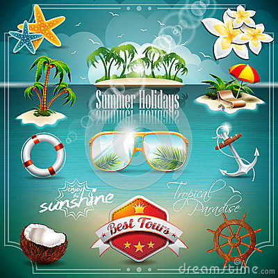 Free Vector Summer Holiday Icon Set. Royalty Free Stock Photos - 38314708