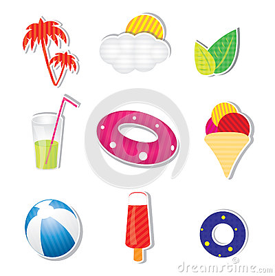 Vector summer icon set on white background
