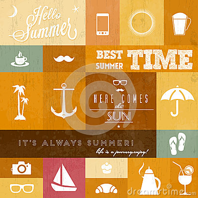 Vector summer icons / whith creative typographic m