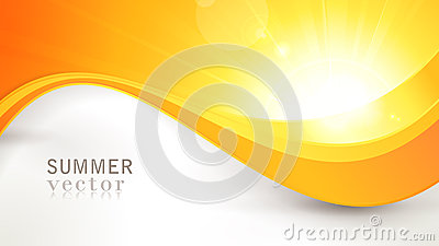 Vector summer sun with wavy pattern and lens flare