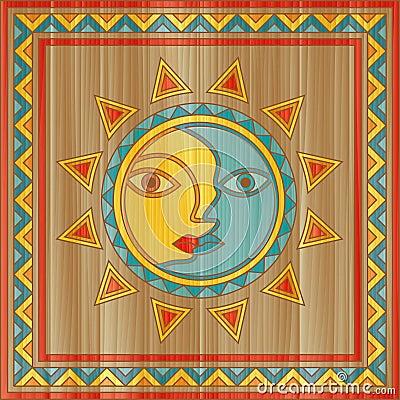 Vector sun and moon face