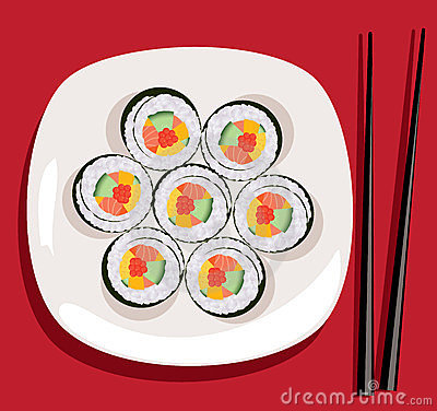 vector sushi and chopsticks