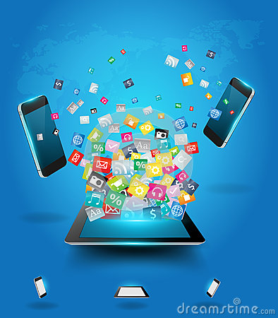 Vector tablet computer with mobile phones cloud of