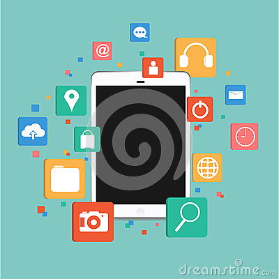 Vector Tablet with Social icon