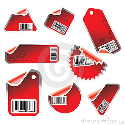 Vector tag and sticker set
