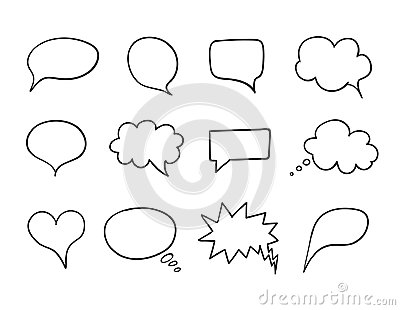 Vector Talk Bubble Set, Speech Box Collection, Hand Drawn Design Elements, Outline Drawings. Vector Illustration