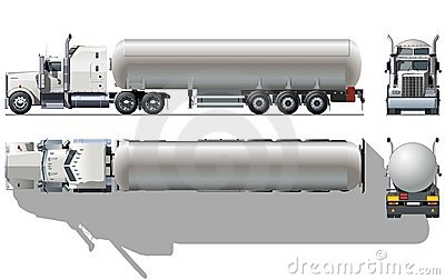 Vector tanker semi-truck