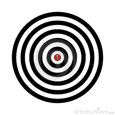 Vector target with dollar sign in the center
