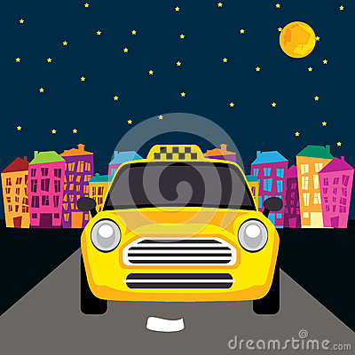 Vector of a taxi on the road