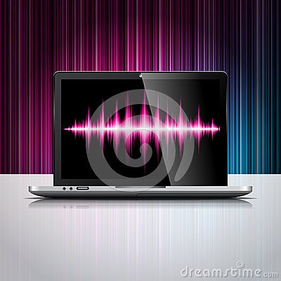 Vector technologie gestileerde illustratie met glanzend laptop apparaat op kleurenachtergrond.