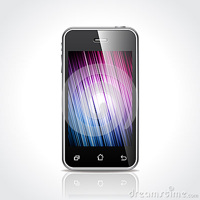 Vector technology styled illustration with shiny touchscreen mobile phone devices on clear background. EPS 10.
