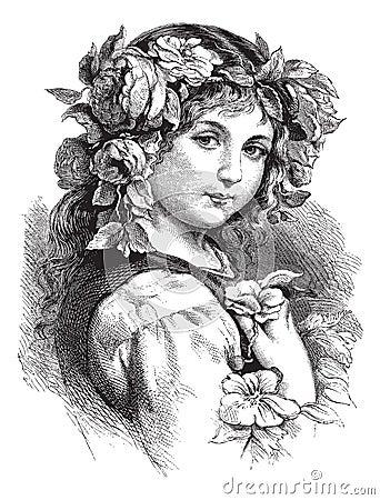 Vector tekening van mooi meisje met bloemen in haar