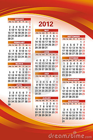 Vector template of 2012 calendar