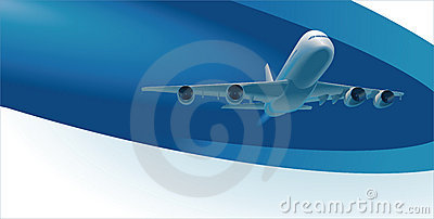 Vector template with airplane and copy space