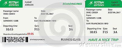 Vector template of boarding pass tickets Vector Illustration