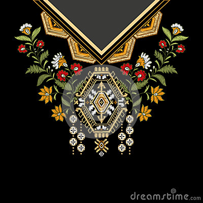 Vector template design for collar shirts, blouses, T-shirt. Embroidery flowers neck and geometric ornament. Paisley Vector Illustration