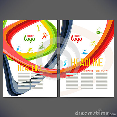 Free Vector Template Design Strips Of Colored Rings And Waves. Royalty Free Stock Photography - 75704337