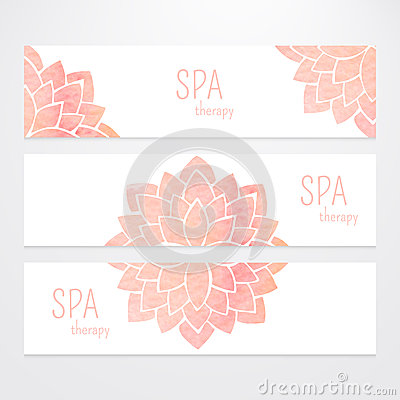 Free Vector Templates Of Banners With Watercolor Pink Lotus Flower Mandala Royalty Free Stock Photos - 56298708