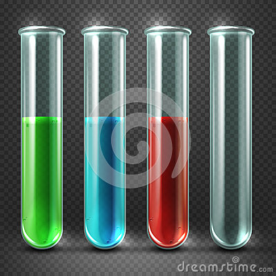 Vector test tubes filled with liquids of different colors and blood Vector Illustration