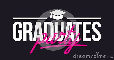 Graduates party. Congratulations lettering. Stock Photo