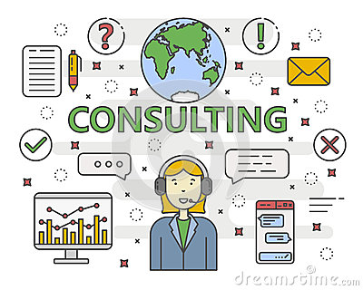 Vector thin line flat design Consulting concept banner Vector Illustration