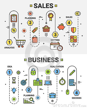 Vector thin line flat design Sales and Business concept banners Vector Illustration