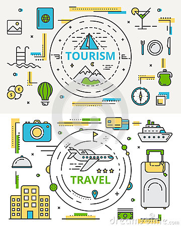 Vector thin line flat design tourism and travel concept bannes Vector Illustration