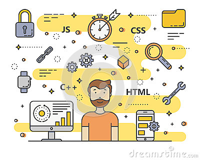 Vector thin line flat design web development, programming concept banner Vector Illustration