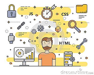 Vector thin line flat design web development, programming concept banner Vector Illustration