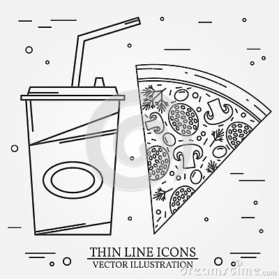 Free Vector Thin Line Icon Pizza, Hot Dog And Burger . For Web Desig Stock Photos - 70926863