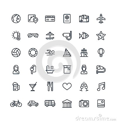 Free Vector Thin Line Icons Set With Travel, Tourism Outline Symbols. Summer Vacation, Hotel Room Service, Luggage Royalty Free Stock Photo - 102155195