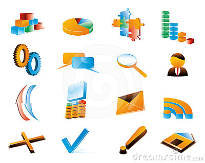 Vector three-dimensional icons.