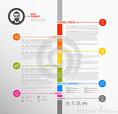 Free Vector Timeline Minimalist Cv / Resume Template Royalty Free Stock Photos - 77813048