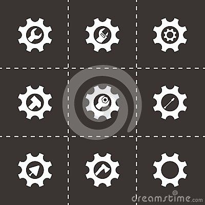 Free Vector Tools In Gear Icon Set Royalty Free Stock Photo - 51884565