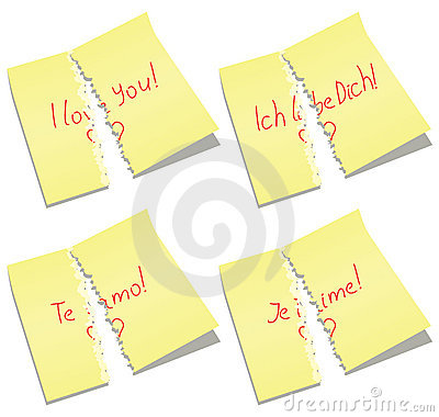 vector torn paper notes with I love you words
