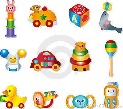 Vector toy icons. Baby toys