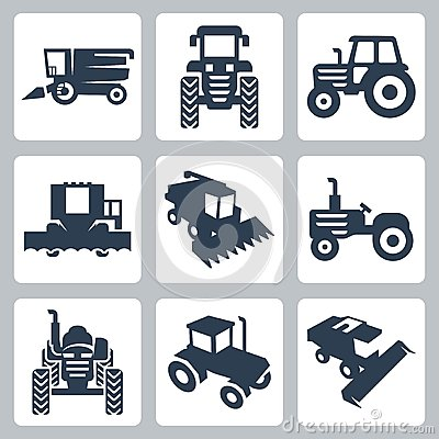 Vector tractor and combine harvester icons
