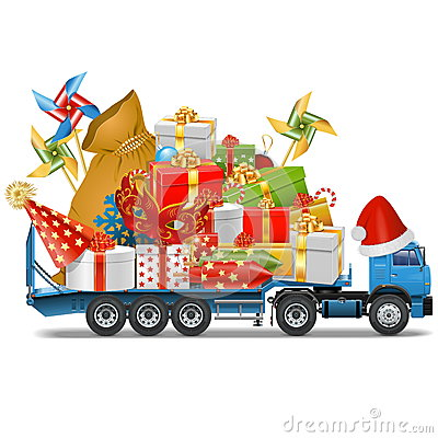 Free Vector Trailer With Christmas Gifts Stock Photography - 46535492