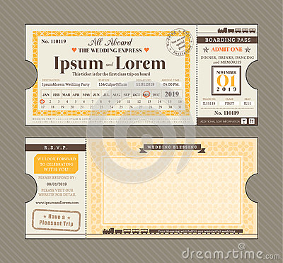 Vector Train Ticket Wedding Invitation Design Template