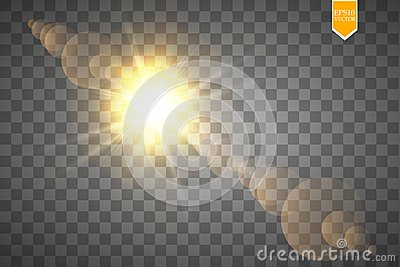 Vector transparent sunlight special lens flare light effect. Sun flash with rays and spotlight Vector Illustration