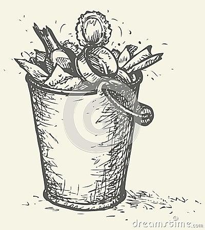 Free Vector Trash Bin Full Of Garbage Royalty Free Stock Images - 49408259