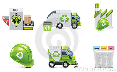 Vector trash recycling icon set