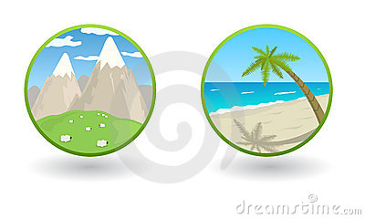 Vector travel icons with sea and mountains