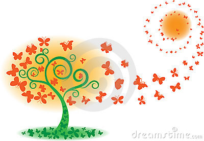 Vector tree of butterfly