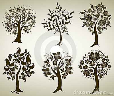 Vector tree from flowers