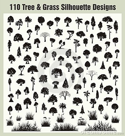 Vector Tree & Grass Silhouettes Set