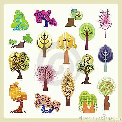 Vector Tree Illustrations Set