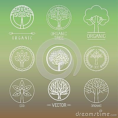 Free Vector Tree Logos And Badges Royalty Free Stock Image - 47009636